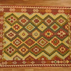 Kilim Qasqagi - 100% Wool 5' X 6'5'' Awesome Multicolored Hand Woven Kilim Oriental Area Rug.