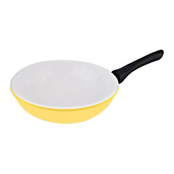 """Vinaroz - 12"""" Wok Die Cast Aluminum Casserole with Ceramic Coating - 12-inch die-cast aluminum wok is perfect for stir-fry cooking"""