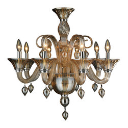 "Worldwide Lighting - Murano Venetian Style 8-Light Blown Glass in Amber Finish Chandelier 27"" x 27"" - This stunning 8-light Venetian Style Chandelier only uses the best quality material and workmanship ensuring a beautiful heirloom quality piece. Featuring a hand crafted quality amber (translucent yellowish-orange color) glass in traditional Italian style and gleaming Polished Chrome finish hardware that's actually blown into the glass during the production process, this elegant chandelier is a work of art in its quality and beauty. Worldwide Lighting Corporation is a privately owned manufacturer of high quality crystal chandeliers, pendants, surface mounts, sconces and custom decorative lighting products for the residential, hospitality and commercial building markets. Our high quality crystals meet all standards of perfection, possessing lead oxide of 30% that is above industry standards and can be seen in prestigious homes, hotels, restaurants, casinos, and churches across the country. Our mission is to enhance your lighting needs with exceptional quality fixtures at a reasonable price."