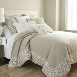"Callisto Home - Callisto Home Natural Pillow w/ Allover Ivory Magnolia Design, 22""Sq. - Natural and ivory ""Magnolia"" bedding is hand adorned with embroidery and velvet appliques for a fresh take on casual elegance. Made of linen; embroidery and appliques are cotton. Dry clean. By Callisto Home. Standard and king shams are adorned with ha..."