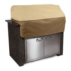"Home Decorators Collection - Veranda Island Grill Top Cover - From the Veranda Collection, the Island Grill Top Cover features heavy-duty fabric that will keep your island grill clean, dry and ready to use. With an elegant fabric top and a protective splash guard skirt, the cover fits grill tops up to 56""L. Water repellent fabric won't crack in cold weather and an interior click-close strap will secure the cover to the grill handle. Elastic hem for a tight, custom fit. Air vents reduce inside condensation and wind lofting. Padded handles for easy fitting and removal. Water repellent. Weighs 4 pounds."