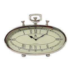 """ecWorld - 49 Bond Street Classic 16"""" Polished Nickel Metal Table Clock - The timeless appeal of antique pocket watches is adopted to create a tabletop rendition as our 49 Bond Street Table Clock. A unique oval design elegant and ideal for adding style to your table, mantle, office or study.<"""