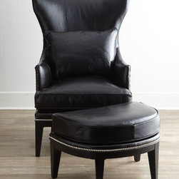 Horchow - Coolidge Leather Wing Chair - Updated styling on a classic frame, this handsome wing chair featuring a flared wing, flange-welt highlighted with nailhead trim, and sleek, tapered legs is perfectly complemented by a deminlune ottoman with nailhead trim. Subtle contrasting crocodile p...