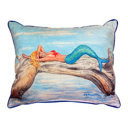 Betsy Drake - Betsy Drake Mermaid On Log Pillow- Indoor/Outdoor - Mermaid on Log Pillow- Large indoor/outdoor pillow. These versatile pillows are equal at enhancing your homes seaside decor and adding coastal charm to an outdoor setting arrangment. They feature printed outdoor, fade resistant fabric for years of wear and enjoyment. Solid back, polyfill. Proudly made in the USA.