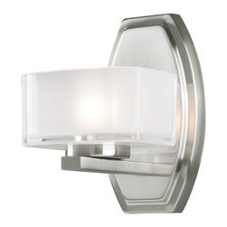 Z-Lite - Z-Lite 3007-1V Cabro 1 Light Bathroom Vanity Lights in Brushed Nickel - This single vanity light has an eye-catching contemporary design with brushed nickel finish, and square cube glass frosted white inside and clear outside.