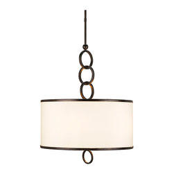 Kathy Kuo Home - Marlow Modern Cream Shaded Pendant 4 Light Pendant - Wrought iron rings are the unique detail of this classic pendant which make it an excellent example of how artistic skill and reserved style can create beautiful style.  Inspired somewhat by nautical lighting, this piece would be perfect in just about any contemporary space.