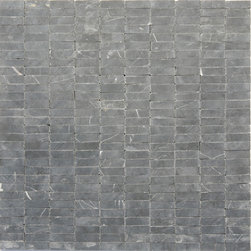 "Glass Tile Oasis - Maison (Black Marquina) Uniform Brick Grey Brick Series Honed Stone - Sheet size:  12"" x 12""     Tile Size:  Uniform Brick     Tiles per sheet:  300     Tile thickness:  1/4""      Sheet Mount:  Mesh Backed     Stone tiles have natural variations therefore color may vary between sheets.   Sold by the sheet    -"