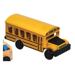The Original Toy Company - The Original Toy Company Kids Children Play Town Truck - School Bus - Our Town School Bus offers realistic appearance and offers years of roll play adventure. Solid hardwood construction, rolling rubber coated wheels. Take a look at the school bus interior for all natural wood seats, along with drivers seat & steering.