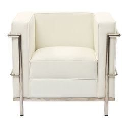 Modway Furniture - Modway Charles Petite Leather Armchair in White - Petite Leather Armchair in White belongs to Charles Collection by Modway Urban life has always a quandary for designers. While the torrent of external stimuli surrounds, the designer is vested with the task of introducing calm to the scene. From out of the surging wave of progress, the most talented can fashion a forcefield of tranquility. Perhaps the most telling aspect of the Charles series is how it painted the future world of progress. The coming technological era, like the externalized tubular steel frame, was intended to support and assist human endeavor. While the aesthetic rationalism of the padded leather seats foretold a period that would try to make sense of this growth. The result is an iconic sofa series that became the first to develop a new plan for modern living. If previous generations were interested in leaving the countryside for the cities, today it is very much the opposite. If given the choice, the younger generations would rather live freely while firmly seated in the clamorous heart of urbanism. The Charles series is the preferred choice for reception areas, living rooms, hotels, resorts, restaurants and other lounge spaces. Set Includes: One - Le Corbusier LC2 Armchair Armchair (1)