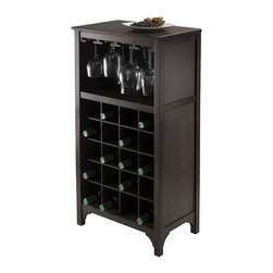 Winsome Wood - 19 in. Modular Wine Cabinet - Glass hanger. Holds twenty wine bottles. Made from solid and composite wood. Dark espresso finish. Assembly required. Glass hanger inside clearance: 16.73 in. W x 11.06 in. D x 8.62 in. H. Overall: 19 in. W x 12.60 in. D x 37.52 in. H