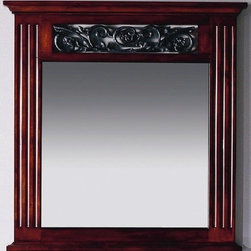 """Xylem - Iris 30"""" Vanity Mirror in Cinnibrown - Features: -Vanity mirror. -Cinnibrown finish. -Signature design with cast iron floral inserts. -Complements 30"""" wash stand. -Overall dimensions: 31.5"""" H x 30"""" W."""