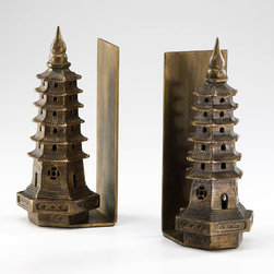 Cyan Design - Pagoda Bookends - Pagoda bookends - gold leaf