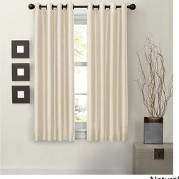 Maytex - Jardin Thermal Lined Energy Curtain Panel - This lovely faux silk fabric window curtain is thermal lined to block light,noise reduction,and energy saving from heat and cold. Solid color in faux silk adds luxury and elegance to any room. Each panel measures 54 inches x 63 inches.