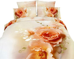 Dolce Mela - Luxury Duvet Covet Set Modern Linens Dolce Mela DM438, King - Decorate with the delicate beauty of Apricot Rose blossoms and artistic floral watermarks on a soothing off white  background and create a dreamy nest in your private oasis.