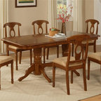 East West Furniture - Napoleon 5-Pc Dining Set in Saddle Brown Fini - Includes table and four chairs. Upholstered seat. Chairs are elegantly designed with cylindrical-lathed front legs for a classical look. One 17 in. extension leaf. Napoleon styled dining chairs. Made from rubber solid wood. Assembly required. Table minimum: 59 in. L x 40 in. W x 30 in. H (111 lbs.). Table maximum: 76 in. L x 40 in. W x 30 in. H (111 lbs.). Chair: 18 in. W x 17 in. D x 38 in. H (35 lbs.)Napoleon dining sets feature gorgeous Asian solid wood with a glossy saddle brown color. Table and chairs have smooth, rounded corners to match any stylish kitchen.