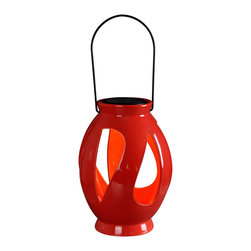 None - Twist Solar Lantern Red Finish - A great outdoor d_cor accent by day and an instant table top or hanging light source by night. These lanterns feature a removable circular solar disc which when placed in optimal sun location will constantly store a charge