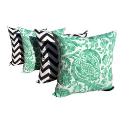 Land of Pillows - Chevron Black and Batick Cat Emerald Green Outdoor Throw Pillows - Set of 4 - Give your decor a pop of bold style, with these graphically patterned throw pillows. This set of four decorative pillows includes two with a chic black chevron design, and two with a charming green floral batik pattern, all with a white background. These square pillows are crafted from a durable fabric that is stain, fade and water resistant, so they look great indoors or out.