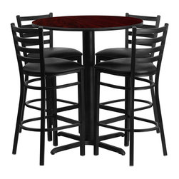"Flash Furniture - 30"" Round Mahogany Table Set with 4 Ladder Bar Stools - Black Vinyl Seat - No need to buy in pieces, this complete Bar Height Table and Stool set will save you time and money! This set includes an elegant Mahogany Laminate Table Top, X-Base and 4 Metal Ladder Back Bar Stools. Use this setup in Bars, Banquet Halls, Restaurants, Break Room/Cafeteria Settings or any other social gathering. Mix in Bar Height Tables with standard height tables for a more varied seating selection. This Commercial Grade Table Set will last for years to come with its heavy duty construction."