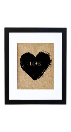 Fiber and Water - 'Love' Artwork - The universal symbol of love has a special, natural charm hand-pressed onto rustic burlap. Neatly framed in black and white, it's beautiful on its own or as part of a themed montage. Try it between his and hers portraits, over the master bed, in the nursery or as the center of a wall montage of family photos.