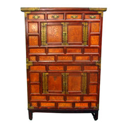 Korean Antique Chest on Chest - This turn of the century Antique Korean 2-pc Stacking Chest is made of elmwood framing with persimmon wood panels. The natural grain of persimmon is cherished throughout Asia for its unique natural patterns. The decorative brass hardware is hand tooled. Stacking Chests like these are used in Korea and Japan as storage chests. The simplicity of line with the natural beauty of its wood grain makes it a fine addition to any room in your home, from transisional to traditional design directions. This 2pc set can be used as two cabinets or stacked as shown.