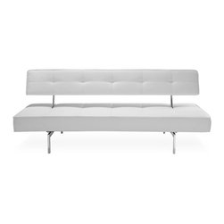 STUDIO COPENHAGEN - Bosco White Sofa Sleeper - Less is more with the Bosco Sofa Bed, simple in design giving it an elegant minimalist look. The Bosco sleeper sofa's back folds down in line with the seat creating a comfortable place to sleep.