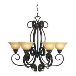 """Franklin Iron Works - Country - Cottage San Dimas Collection Six Light Chandelier - This six light chandelier has graceful swirls of hand-wrought iron with an oil-rubbed bronze finish that support six champagne glass cups. Comes with six feet of hanging chain. Uses six 60 watt bulbs (not included). Measures 28"""" wide 26"""" high. 10 feet wire and 6 feet chain. 5"""" round canopy. Weighs 29 lbs.  Oil-rubbed bronze finish.  Champagne glass  Uses six 60 watt bulbs (not included).  28"""" wide.  26"""" high.  10 feet wire and 6 feet chain.  5"""" round canopy.  Weighs 29 lbs."""
