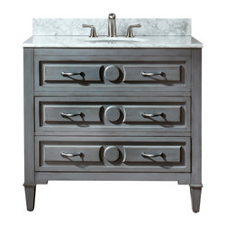 "Avanity - Kelly Vanity Only,  36"" - For those who don't always see things in black or white, this gray vanity provides you with a neutral choice. It has a great transitional style that works well in both modern and traditional settings and is perfectly sized for your guest bath. Or, place two side by side in the master bath."