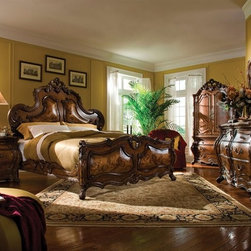Palais Royale Bedroom Set - This Bedroom Set consists of Queen Size Bed, Two Nightstands, and Dresser with Mirror. 18th century Rococo styled rooms were designed as total works of art with elegant and ornate furniture, small sculptures, ornamental mirrors, and tapestry.