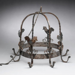 Metal Rooster Eight-Hook Kitchen Pot Rack - In our minds, this pot rack has beautiful aged copper pots hanging from it, along with a few dried herbs here and there. This could be added to any kitchen for instant character.