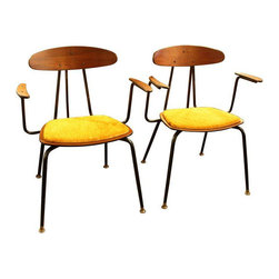 1950s French Armchairs in Yellow Velvet - A Pair - Dimensions 23.75ʺW × 17.5ʺD × 30.5ʺH