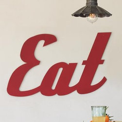 """EAT"" sign - This fun sign from Sundance adds quirky charm to a kitchen. It's another way of saying ""help yourself to whatever's in the fridge."" Made by an Amish craftsman called Rusty Merv."