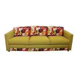 "Mid-Century Modern Sofa - 1960s custom-made New York showroom sofa newly upholstered by Mission Avenue Studio in fabrics by Kravet. Print fabric on the back and exterior is by Jonathan Adler for Kravet. Sofa has eight-way hand-tied springs and coils. On wheels in excellent condition. Seat, 18""H; arm, 25""H."