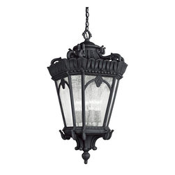 Kichler Lighting - Kichler Lighting 9564BKT Tournai Traditional Outdoor Hanging Light - With its heavy textures, dark tones and fine attention to detail, this 4 light hanging pendant from the Tournai collection stands out from other outdoor fixtures. Handmade from cast aluminum, its distinctive Textured Black finish and Clear Seedy Glass panels give this piece a unique aged look.