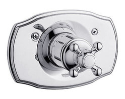 """Grohe - Grohe 19615000 Starlight Chrome Geneva Geneva Thermostatic Valve Trim - Product Features:Fully covered under Grohe s limited lifetime warrantyTrim constructed of brass - ensuring durability and providing aesthetic appealPremier finishing process - finishes will resist rusting and corrosion through every day useGrohe faucets are exclusively engineered in GermanyThe perfect synthesis of form and functionThermostatic valve cartridge with scald guardSecure mounting assemblyAll hardware required for installation is includedRough-in valve not included - when adding to cart valve options will be presentedProduct Technologies / Benefits:Starlight Finish: Continuously improving over the last 70 years GroheÂ's unique plating process has been refined to produce and immaculate shiny surface that is recognized as one of the best surface finishes the world over. Grohe plates sub layers of copper and/or nickel to ensure that a completely non-porous, immaculate surface awaits the chrome layer. This deep, even layered chrome surface creates a luminous and mirror like sheen.TurboStat: By increasing the sensitivity to the thermo element and restructuring the internal waterways, our thermostats react up to twice as fast to abrupt changes in water pressure, and are up to nine times more accurate than the leading competitors. The desired temperature is achieved in seconds and is maintained throughout the duration of your shower. The outstanding precision offered by the TurboStat technology also adds to your showers conservation of water.Valve Trim Specifications:Swinging temperature dial provides optimum controlPre-set safety stop with override capabilityEscutcheon (Trim Plate) Diameter: 7-1/2""""Rough-in valve sold separatelyDesigned for use with standard U.S. plumbing connections"""