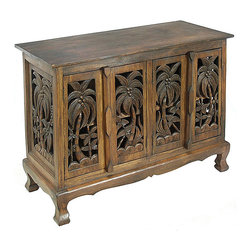 None - Coconut Palm Trees Cabinet/ Sideboard Buffet - Add a touch of the tropics to your home decor with a four-door cabinetHandcrafted dining furniture features acacia wood construction Buffet table showcases soothing palm trees swaying on the doors and flanks