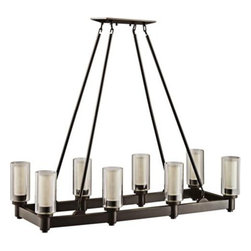 "Circolo Collection Olde Bronze Rectangle Chandelier | LampsPlus.com - This bronze finished rectangular candle-style chandelier has a bit of medieval style without being looking too Medieval Times. Also available in a circular shape and in a smaller single-row rectangular size.Clear and umber etched glass.Takes eight 60 watt medium bulbs (not included).36 1/2"" long 14 1/2"" deep Body height is 38""Extra lead wire is 82"" (included).$620.91"