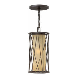 Hinkley Lighting - Elm Outdoor Pendant - 1152 Elm Outdoor Pendant is made out of Metal featuring a Regency Bronze finish with Distressed Amber Etched glass.  Available in Incandescent and Compact Fluorescent options.  One 100 watt, 120 volt A19 type Medium base or one 26 watt, 120 volt  Compact Fluorescent GU24 base bulb is required, but not included.  Dimensions:  8.25 inch width x 17.5 inch height. Listed for Damp locations.