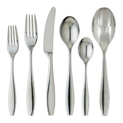 Ginkgo - Ginkgo Skandia 42-piece Stainless Steel Flatware and Hostess Set - Featuring sleek,timeless line work that fluidly transition to a narrow flat base,this set is great for serving your friends and family. The contemporary design is polished to a mirror shine for added class.