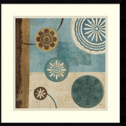 Amanti Art - New Generation Blue II Framed Print by Veronique Charron - In this striking abstract art print, Veronique Charron skillfully marries contrasts; dark hues with light and nature inspired imagery with geometric shapes.