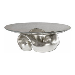 Uttermost - Silver Modern Art Decor Bowl Champagne Silver Leaf Bowl Home Decor - Silver modern art decor inspired style glass bowl in a champagne silver leaf with clear glass bowl home accent decor