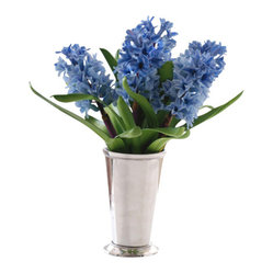 Jane Seymour Botanicals - Hyacinths in Julep Cup - Get that garden-fresh look for your home even if you don't have the space, skill or time to grow a garden. With this permanent display of blue hyacinths in a metal julep cup, you can enjoy the allure of fresh-cut flowers each day without ever getting your hands dirty.