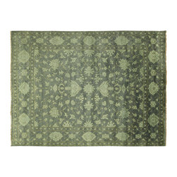 Manhattan Rugs - New Floral Design All-Over Oushak Hand Knotted Wool 9' X 12' Eton Blue Rug H5394 - Oushak rugs originated in the small town of Oushak in west central Anatolia, roughly 100 miles south of the city of Istanbul in Turkey. Oushak has produced some of the most decorative Persian influenced rugs of all times. Oushak has been a production center of Turkish rugs since the 15th century. In the late 15th century the 'design revolution' took place. Before, producing carpets was part of the nomad culture, meeting people's daily needs, but for the first time the works of designing and weaving rugs were split in two. These Turkish rugs began to be produced commercially. From the 16th up to the 18th century the most famous manufacturers of ottoman times worked in Oushak. A special heirloom wash produces the subtle color variations that give rugs their distinctive antique look.