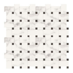 Marca Corona - Deluxe White Reflex Basket-Weave Mosaic - Sold by the Piece