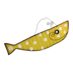 Yellow and White Polka Dot Smiling Tin Whale Wall Hanging - This adorable, smiling, yellow whale is a fun accent to any beach inspired or nautical decor! It is fabricated from tin with a wavy texture and features glittery white polka dots and a neat, scalloped 3D eye. It measures 12 1/2 inches tall, 33 1/2 inches long, and hangs from a spiral wire.