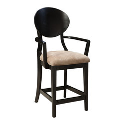 Standard Furniture - Standard Furniture Bryant Upholstered Barstool with Arms in Black (Set of 2) - Bryant Dining recreates the cool character of progressive 60s Modern style, updated for the way we live today.