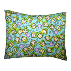 SheetWorld - SheetWorld Twin Pillow Case - Percale Pillow Case - ABC Blocks Blue-Made in USA - Twin pillow case. Made of an all cotton flannel fabric. Side Opening. Features the one and only ABC Blocks Blue!