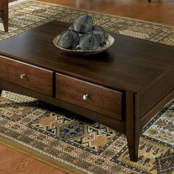 Riverside Furniture - Metro II Storage Coffee Table in Ebony Brown - Rectangular shape. Two dovetail drawers. Wood-on-wood guides. CPSC HR-4040 certified. Made from hardwood solid and oak veneer. 46.25 in. W x 28.25 in. D x 16 in. H (84 lbs.). Assembly InstructionsYouthful in spirit, the Metro II occasional tables feature clean simplicity with the ultimate in storage function.