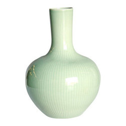 Belle & June - Celadon Carved Bamboo Globular Vase - Generous curves and clean lines make this porcelain vase a perfect pick for your favorite setting. Fill with flowers, branches, even feathers for an instant centerpiece or accent on a mantle, console or shelf.