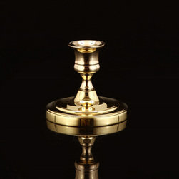 None - Oxford Small Circle Candlestick - Add a classic touch to your home decor with this circular candlestick from Oxford. A solid brass and lacquer coating finish this candlestick.
