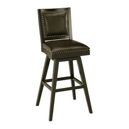 Pastel Almada 30 in. Bar Stool - Enhance the decor of your private bar, den, or game room with the Pastel Almada 30 in. Barstool. A blend of contemporary and traditional styles, this barstool is perfect for bar seating. Nail-head trim along the backrest and seat increases its visual appeal. It's designed to be sturdy and features a solid wood, Feher black-finished frame with footrest. Experience comfort on its cozy padded seat, which is covered in smooth bonded leather. Additionally, the stool's swivel allows you to customize your seating. Please note: This item is not intended for commercial use. Warranty applies to residential use only.About Pastel Furniture:Pastel Furniture's attention to detail and commitment to quality make their products an ideal choice for any home. Their line of swivel bar stools and counter stools features innovative styles that easily fit into almost any home decor. These stools are built to last, using high-quality materials such as heavy-duty steel frames and web seat construction, and their hand-painted finishes are durable and rust-resistant. Pastel doesn't just stop at bar and counter stools, though; they provide a range of products from dining chairs and tables to full dining sets. You're sure to find something among their many fine products that catches your eye and coordinates perfectly with your home.
